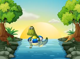 En krokodil vid floden