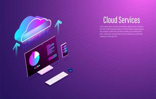 Cloud datalagring 3d isometrisk smart modern technolodgy koncept med smartphone och laptop. Vektor