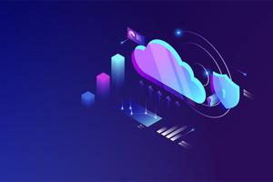 Cloud Data Computing isometrisches Konzept. Cloud-Online-Datenspeichertechnologie