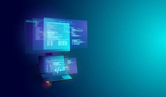 Software- und Programmentwicklung auf dem Bildschirm-, Codierungs- und Verarbeitungsdiagramm von Laptop und PC. Vektor