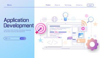 Modernes flaches Konzept des Entwurfes der Anwendungsentwicklung und der Webentwicklung, Landingpage der beweglichen APP-Kodierung und programmierender plattformübergreifender Gerätvektor.