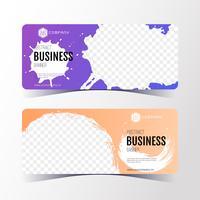 Färgglatt Abstrakt affärsbanksmall, horisontella banderollskort.