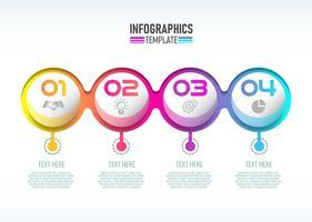 Vector modernen Infographic 3d Aufkleber, Schablonendesign. Geschäftskonzept, Infograph mit Wahlen der Nr. 4.