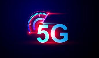 Internetlogo des Netzes 5G mit Geschwindigkeitsmesser Vektor. vektor