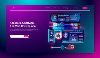 Programvara och webb-användargränssnitt utveckling, mobil applikation byggnad kors plattform vektor