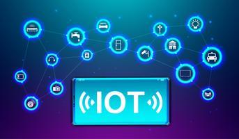 IOT Internet för det framtida teknikkonceptet. Vektor