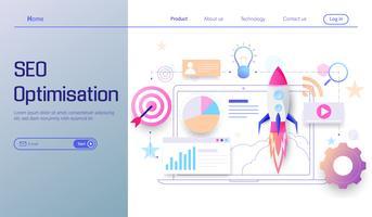 Modernes flaches Design der SEO-Optimierungstechnologie, Suchmaschinenanalytik, Webanalytik, Sozial- und Datenanalysevektor