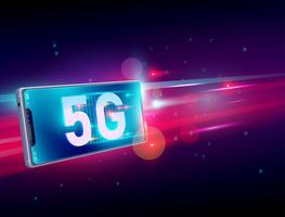 Drahtlose Internetkommunikation des Netzes 5G auf dem Fliegen des realistischen Smartphone 3d mit hellrotem und dunkelblauem Hintergrund. Vektor