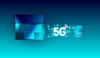 Neue Hochgeschwindigkeitsinnovationsverbindungs-Datenratentechnologie des globalen Netzwerks 5G, 5. drahtlose Internet wifi-Verbindung auf Draufsichtvektor des Smartphone- und Laptopgeräts