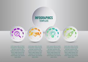 Der Vektor der bunten infographics Schablone für Ihre Unternehmensplanung mit 4 Schritten, infographic Elemente der Zeitachse für Ihr Marketing. flacher Vektor.