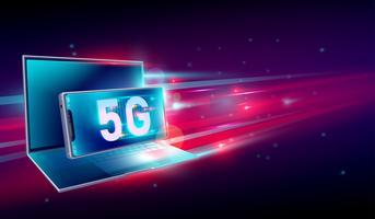 Hochgeschwindigkeitsinternet der netzkommunikation 5G auf fliegendem realistischem Laptop 3d und Smartphone mit hellrotem und dunkelblauem Hintergrund. Vektor