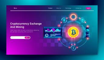 Modernes flaches Design der Cryptocurrency Exchange- und Bitcoin-Bergbautechnologie auf Konzept der Tablette und des tragbaren Geräts für Landungsseitenschablone, Vektor blockchain.