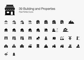 39 Bygg och Egenskaper Pixel Perfect Ikoner (fylld stil). vektor