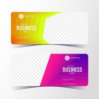 Bunte abstrakte Geschäftsfahnenschablone, horizontaler Fahnenkartensatz.