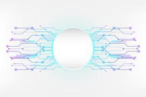 Cyanvit abstrakt teknik bakgrund med kretslinjekoncept och Cirkel tomt utrymme