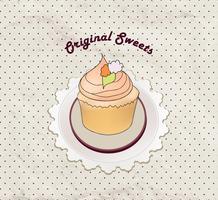 Kuchen. Cafe Menühintergrund. Bäckerei-Label. Süßes, Nachtisch-Plakat