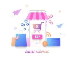 Modernes flaches Konzept des Onlineeinkaufs, online kaufend durch Smartphone, Onlinemarktvektor