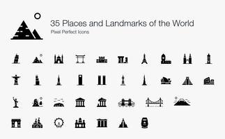 35 Platser och landmärken i världen Pixel Perfect Ikoner (fylld stil). vektor