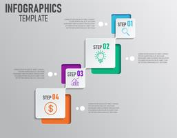 Moderna infographics av företagspresentation med steg och 4 alternativ vektor