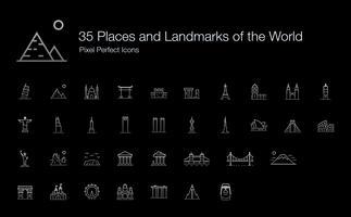 35 Platser och landmärken i världen Pixel Perfect Icons (Line Style Shadow Edition). vektor