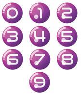 Vektor av Nummer noll till nio med realistiska 3d bollar