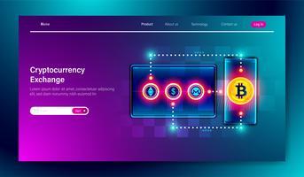 Kryptowährungsaustauschplattform mit Smartphone und Tablet-Gerät, Kryptowährungsbergbau, digitaler Geldmarktplatz Vektor