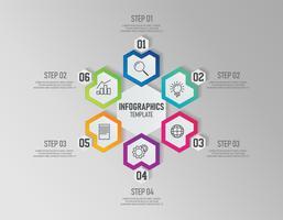 Infographikvorlage des Präsentationsgeschäfts mit 6 Optionen