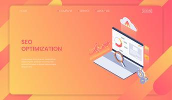 Seo optimering webbsidans mallkoncept, isometrisk webbanalys. vektor illustration