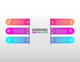 infographics design vektor och marknadsföring ikoner med 6 steg vektor.