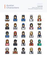 Detaljerad vektor färglinje ikoner uppsättning av människor och avatar. 64x64 pixel perfekt och redigerbar stroke.