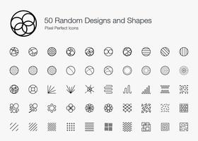 50 slumpmässiga designer och former Pixel Perfect Ikoner (Line Style). vektor