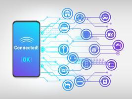 Vektor av mobiltelefon ansluten till saker och kontrollera det, internet av saker abstrakt bakgrund.