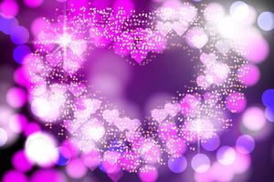 Abstraktes Herz verwischte Licht, Bokeh-Lichter und Funkelnhintergrund Vektor
