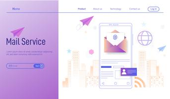 Mobilt E-posttjänst Modernt plattformskoncept, e-postmarknadsföring, nyhetsbrev och elektronisk postvektor