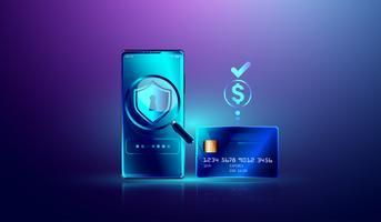Online betalning via kreditkortsskydd på smartphone-koncept. Elektronisk faktura, säker online shopping betalar via smartphone och internetbank
