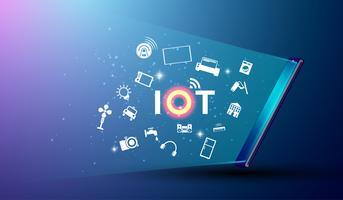 Internet der Sachen und der Internetverbindungstätigkeit mit Sachen und Smartphonekonzept