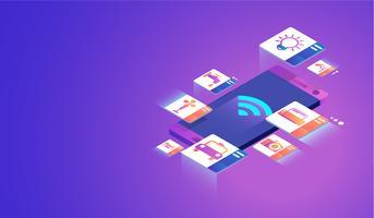Internet der Dinge auf Smartphone-Konzept. Vektor