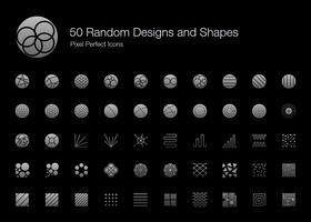 50 slumpmässiga designer och former Pixel Perfect Ikoner (Filled Style Shadow Edition). vektor