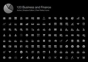120 Business and Finance Pixel Perfect Ikoner (Filled Style Shadow Edition). vektor