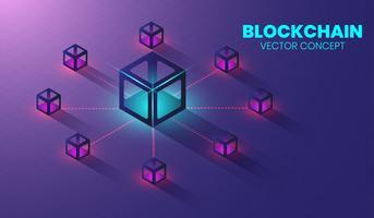 Isometrisches Blockchain-Technologiekonzept, Form der Blockkette miteinander verbunden. Vektor
