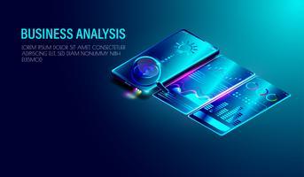 Geschäftsanalysesystem auf isometrischem Smartphone mit Diagramm, Infografiken auf dem Bildschirm, dunkelblauer Hintergrund
