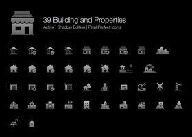 39 Gebäude und Eigenschaften Pixel Perfect Icons (Filled Style Shadow Edition).