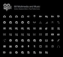 68 Multimedie- och musikpixel-perfektikoner (Filled Style Shadow Edition). vektor