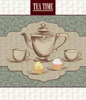 Teetasse, Wasserkocher Retro-Karte. Tee Zeit Vintage Hintergrund. Heiße Getränke