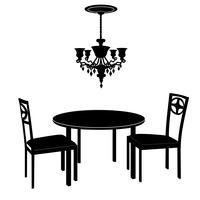 Wohnzimmerinnenraum: Stühle, Tisch, Lampe. Weinlesemöbel eingestellt