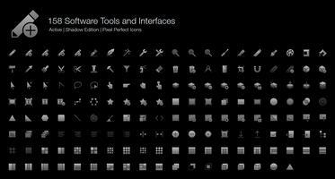 158 Programverktyg och gränssnitt Pixel Perfect Ikoner (Filled Style Shadow Edition). vektor