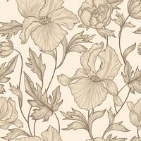 Blommigt sömlöst mönster. Blomma bakgrund. Vårens blomsträdgård vektor