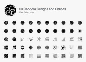 50 slumpmässiga designer och former Pixel Perfect Ikoner (fylld stil). vektor