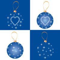 Julgransuppsättning. Hälsningskortdesign. Snowflake ball dekor