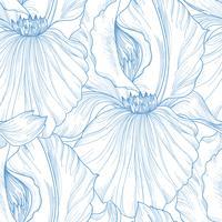 Blommigt sömlöst mönster. Blomma bakgrund. Blomra gravering vektor